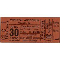 DELANEY & BONNIE & NORMAN GREENBAUM Concert Ticket Stub 4/30/70 ATLANTA GA Rare