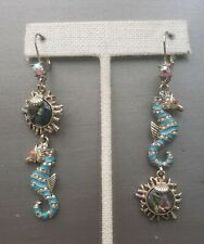 Betsey Johnson And The Sea Abalone Shell Seahorse Crystal AB Mismatch Earrings