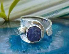 Ring Sterling Silver 925 Tanzanite Blue Stone of the December and Topaz