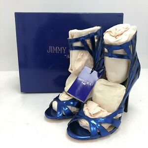 NWT Jimmy Choo Leather Caged High Heels UK 5 Electric Blue Ankle High 291176