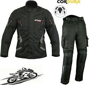MENS BLACK WINTER CE MOTORBIKE / MOTORCYCLE TEXTILE JACKET / COAT TROUSERS SUIT