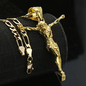 "Jesus Crucifix 14k Gold Plated Brass Pendant 18"" Figaro Necklace Choker Chain"
