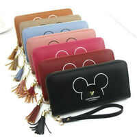 Tassel Long Women Clutch Wallet Cartoon Mickey Faux Leather Purse Card Holder