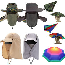 Fishing Camping Hiking Face Flap Hat Sun Protection Umbrella Bucket Baseball Cap