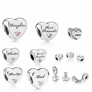 Genuine Pandora Moments Daughter Wife Mum Auntie Best Friend Charm Love Heart UK