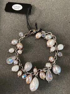 """VTG 7"""" Lucoral Sterling 925 ROLO Cultured Pearl Cluster Bracelet Pastel Shades"""