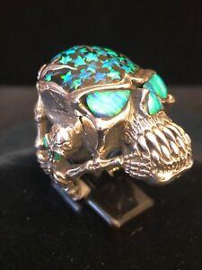 Super Bad Ass, Sterling Silver,  Skull/Skeleton Ring Set W/Opals.. Biker/Rocker.
