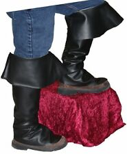 BOOT TOPS Adult Black Buccaneer Pirate Santa Shoe Covers Costume Accessory
