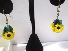 SUNFLOWER BALL PIERCED EARRINGS PAPER QUILLED ARTISAN MADE QUILLING FLOWERS