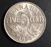 1922 Canada Five Cents 5C Far Rim Variety, KM# 29, Highest Grade AU!! or MS?