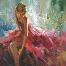 GISELLE STRETCHED CANVAS BY EDWARD JARVIS elegant woman in pink red dress 24x24
