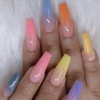 Rainbow Ombre Long Coffin Press On Nails Fake False 20 Pc Nail Set Kit Glue Pink