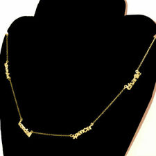 Personalized 14KT Solid Gold Mini Name Plate Necklace Name Necklace Link Chain
