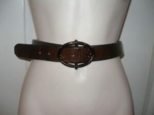 "FOSSIL Unisex Waist Belt Medium Genuine Leather Brown  Fits Size 32"" 36"" New"