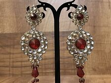 New Indian Pakistani Ethnic Bollywood Gold Plated Kundan Stone Jhumki Earrings