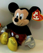 "Disney SPARKLE Ty Beanie Babies MICKEY MOUSE 5"" Plush NEW WITH TAG"
