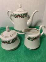 Sango Christmas Holly Coffee/Tea  Pot/pitcher  -#8415 Cream & Sugar - fine china