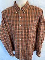 Polo Ralph Lauren Mens Large Classic Fit Button Down Orange Plaid Flannel Shirt