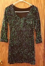 Green & Black Sequin Dress Sparkles Long Sleeve V-neck Mid-Thigh Short Large