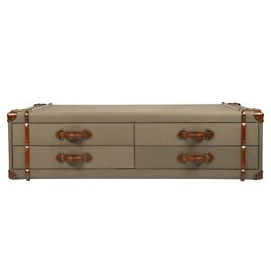 Customized Khaki Color Canvas Drawer Chest Coffee Table