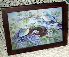 SHABBY BROWN FRAME BLUE BIRD NEST SPARKLY PRINT CHIC FRENCH COTTAGE WALL DECOR