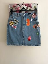 Topshop MOTO Blue Denim USA Patch Badge Mini Skirt, UK Size 12, Petite New