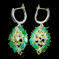 Emerald Earrings Silver 925 Sterling Handmade  /E38053