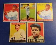 Babe Ruth New York Yankees lot (5) 1933 & 1949 Goudey reprint Baseball Cards!!