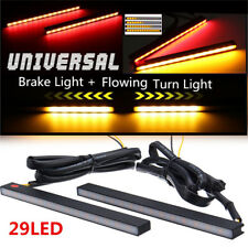 2x Red/Amber 29 LED Aluminium Car Brake Stop Light DRL+ Flowing Turn Signal Lamp