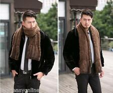 100% Real Brown Men Knitted Mink Fur Scarf Stole Boy Shawl Wrap Unique Gift
