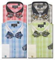 C. Allen Mens Dress shirts Bow Tie Combo French cuff Multi Blue Red  Black Green