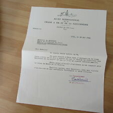 LETTRE TAPUSCRITE DE HENRI DE LINARES 1962 CHASSE FAUCONNERIE
