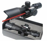 Tactical 2.5-10x 40 Illuminated Red and Green Mil-dot Rifle Scope with Red Laser