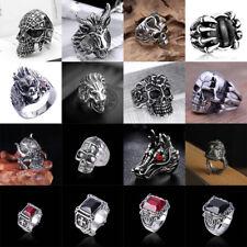 Vintage Mens Silver Stainless Steel Gothic Skull Biker Rings Jewelry 8 9 10 11