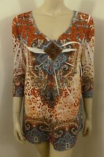 NEW One World Beaded V-neck 3/4 Sleeve Top Blouse Woman Size L NWT