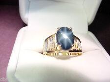 NAVY BLUE GENUINE STAR SAPPHIRE 3.44 CTS 14K GOLD FILIGREE RING