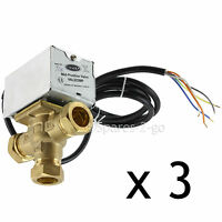 3 x TOWER VAL322MP Motorised Mid Position Central Heating Valve 22mm 3 Port