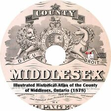 1878 Middlesex County, Ontario Atlas -History Genealogy Maps Book on CD