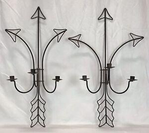 Pair Vintage Mid Century Spanish Revival Wrought Iron Arrow Candle Sconces