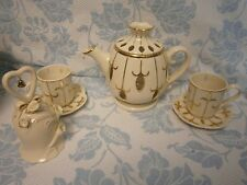 PartyLite Teapot Teacups Saucers w/ Bell