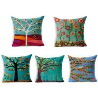 Artist Tree&Flower Cotton Linen Cushion Cover Throw Pillow Case Sofa Home Decor