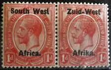 S.W.AFRICA 1923 KG V 1d ROSE-RED MINT HINGED PAIR S.G.2 (O/P SETTING I) VGC