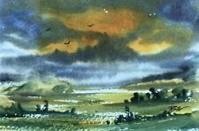 Original (6x4 inch) signed Painting ' Gold in the Sky ' by Bill Lupton