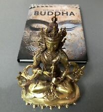 NEPALESE STATUE OF BUDDHIST BODHISATTVA VAJRASATTAVA. MODERN BRASS CASTING.TIBET
