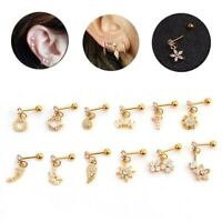 Fashion Flower Dangle Lip Conch Tragus Helix Ear Cartilage Studs Piercing Decor