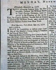 CAPTURE OF NEW YORK Battle of Long Island Revolutionary War1776 London Newspaper
