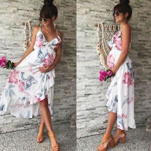 Women Maternity Pregnant Dresses Sleeveless Nursing Summer V-Neck Floral Dress