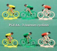 PGF.SA, 3 coureurs cyclistes, maillots jaune, vert et rouge