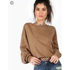 Anthropologie Brown Drop Shoulder Cropped Sweatshirt Top Small