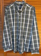 Basic Editions Green and White Plaid Button Down Long Sleeve Shirt Men's Size 2X